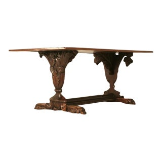 Antique Hand Carved Relief French Solid Walnut Trestle Table