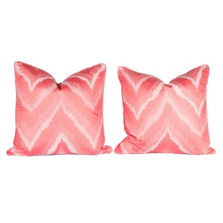 Pink Flame Stitch Pillows - A Pair