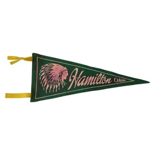 Vintage 1950s Hamilton Canada Felt Flag