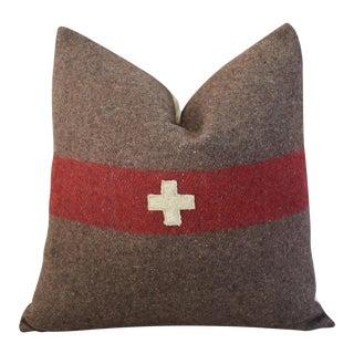 Swiss Wool & Linen Applique Cross Feather/Down Pillow