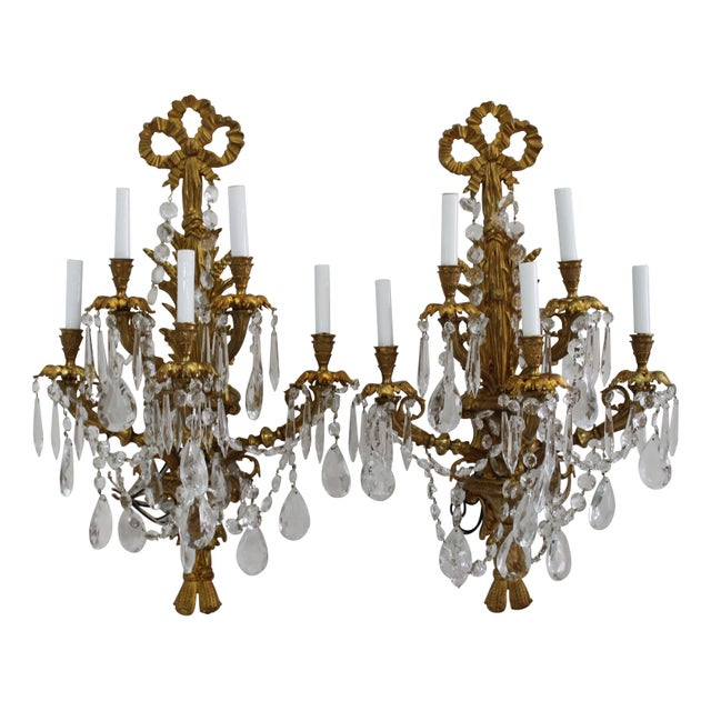 Antique Brass Crystal Wall Sconce - A Pair Chairish