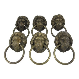 English Brass Lion Head Hardware Pulls - S/6