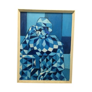 Cubist Mid-Century Oil on Canvas Painting