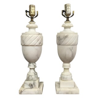 Neoclassic Marble Table Lamps - a Pair