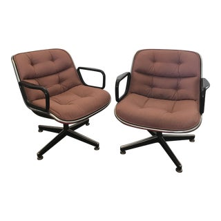 Vintage Knoll Pollack Swivel Chairs - a Pair