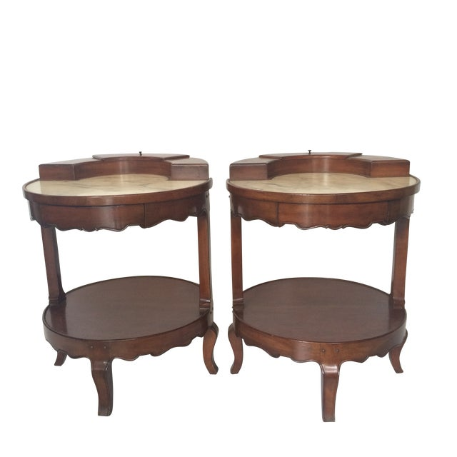 French Provincial Marble Top Side Tables - Pair - Image 1 of 11