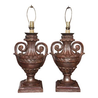 Silver leaf Carved Wood Lamps - Pair