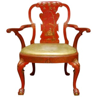Chinese Chippendale Style Red Lacquer Chinoiserie Armchair