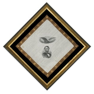 19TH CENTURY KERCHIEF WITH A HIGHLY DETAILED PORTRAIT OF ABRAHAM LINCOLN KERCHIEF
