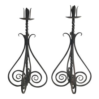 Spiral Motif Candle Holders - A Pair