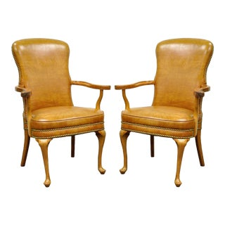 Vintage Queen Anne Maple Wood Fireside Vinyl Lounge Office Arm Chairs - a Pair