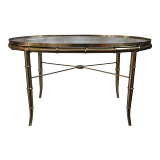 Vintage Mid-Century Faux Bamboo Brass & Glass Coffee Table