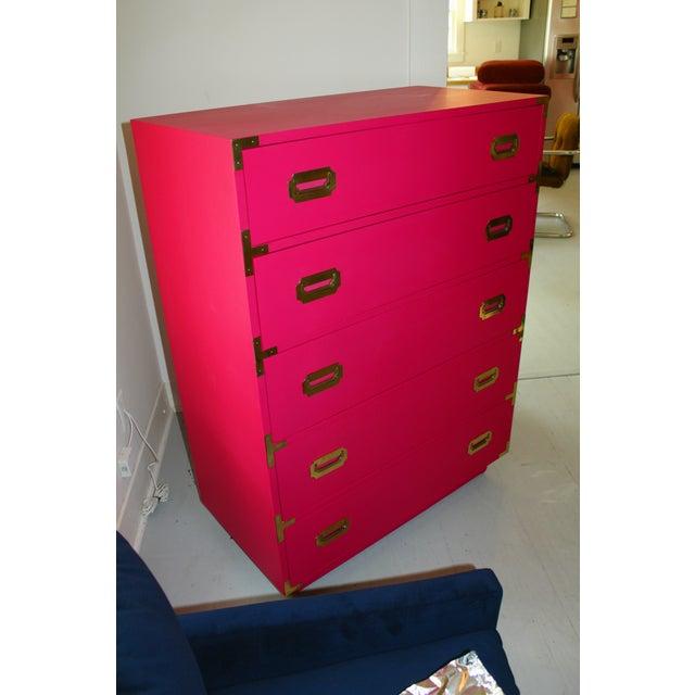 Hot Pink Vintage Dixie Highboy Campaign Dresser - Image 8 of 8