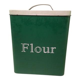 Mid-Century Modern Green Metal Flour Bin