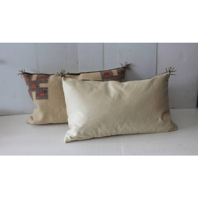 Fantastic Pair of Geometric Navajo Indian Weaving Saddle Blanket Pillows - Image 5 of 5