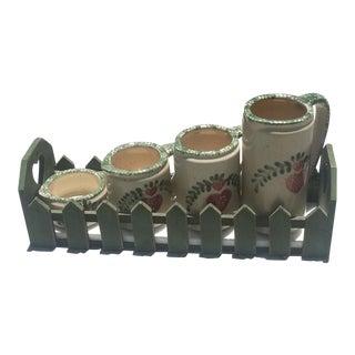 Vintage Porcelain Measuring Cups & Basket