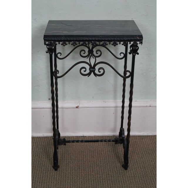 Antique Gothic Wrought Iron Marble Console Table - Image 4 of 10