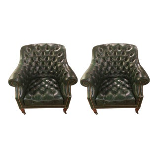 Dark Green Leather Tufted Club Chairs - a Pair