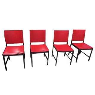 Red Leather Modern Designer Chairs - Set of 4