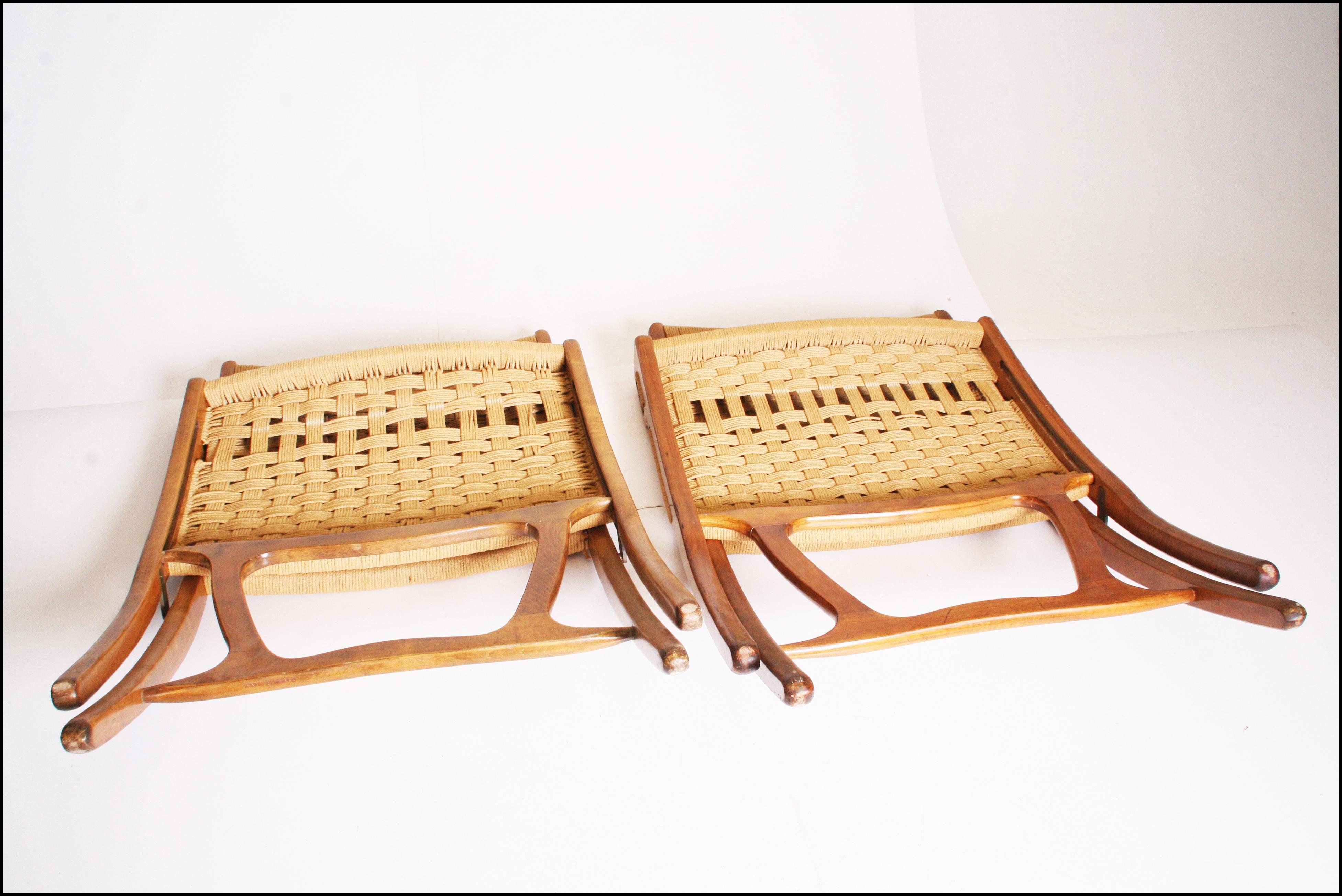Mid Century Modern Hans Wenger Style Rope Folding Chairs   A Pair   Image 7  Of