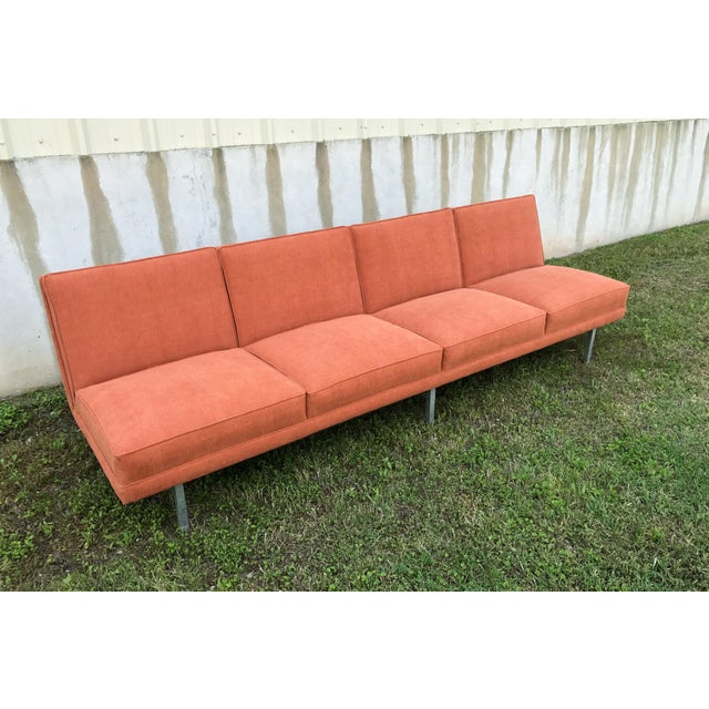 mid century modern florence knoll style orange sofa chairish. Black Bedroom Furniture Sets. Home Design Ideas