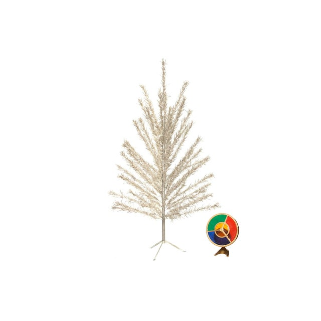 6 Foot Aluminum Christmas Tree with Color Wheel Light - Image 7 of 7