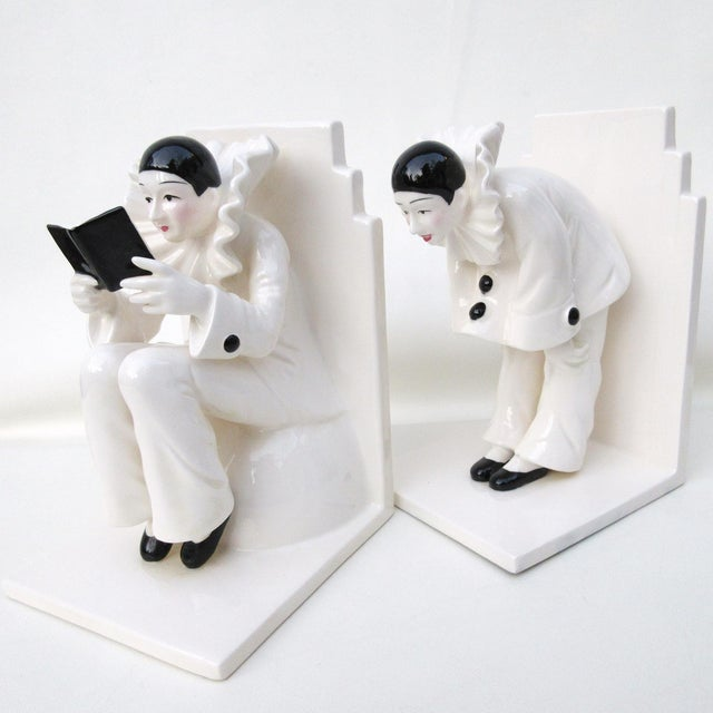 Image of Art Deco Ceramic Mime Bookends - A Pair