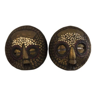 African Hand-Decorated Moon Masks - A Pair