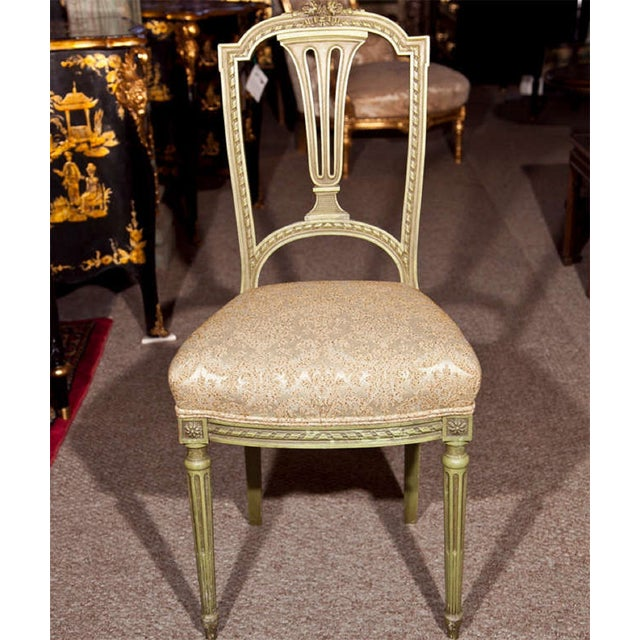 French Green Painted Side Chairs Pair Chairish