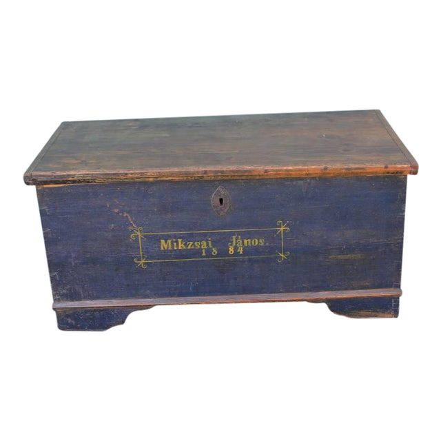 Image of 19th Century Original, Blue Painted Blanket Chest