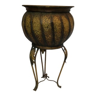 Vintage Cauldron Planter With Stand