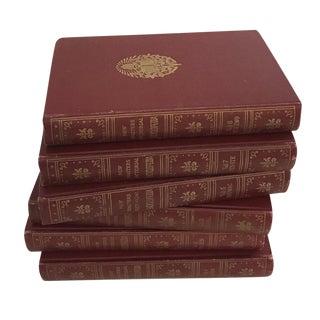 Vintage Red & Gold Books - Set of 6