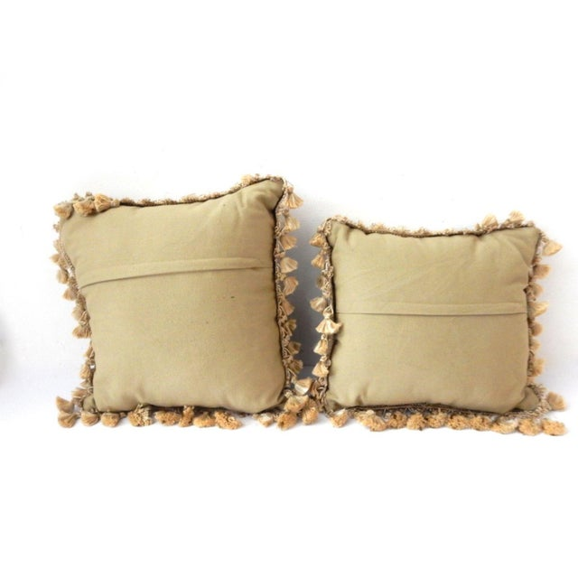 French Square Verdure Petit Point Pillows - a Pair - Image 7 of 8