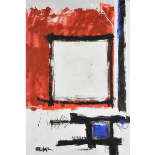 Red Oxide Black & Blue Acrylic Abstract Painting