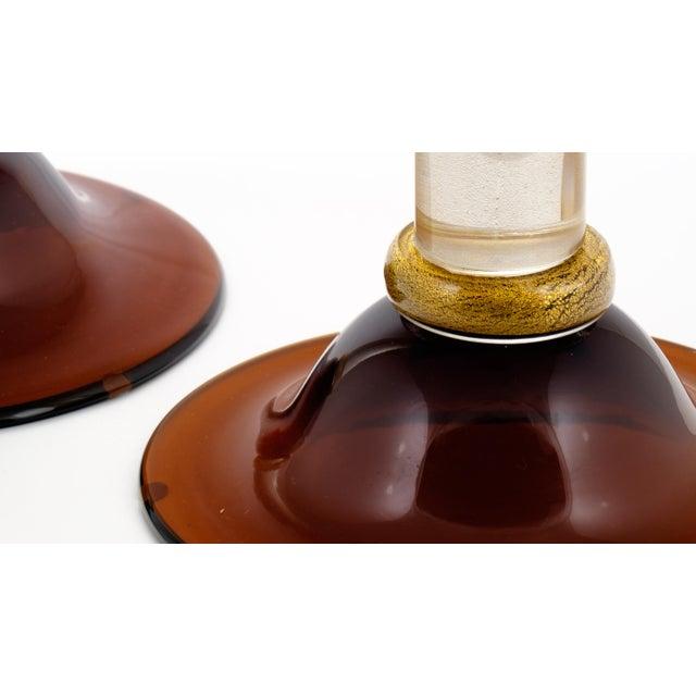 Murano Amber & Avventurina Glass Candlesticks- A Pair - Image 8 of 10