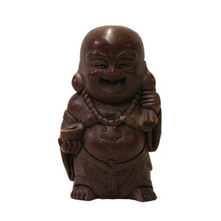 Chinese Brown Soap Stone Carved Small Happy Buddha Figure Art