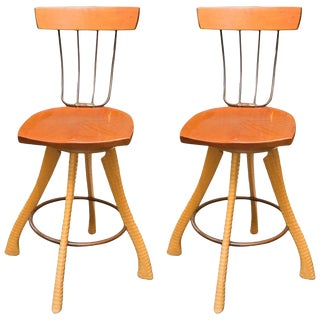 Brad Smith Ax & Pitchfork Counter Stools - A Pair