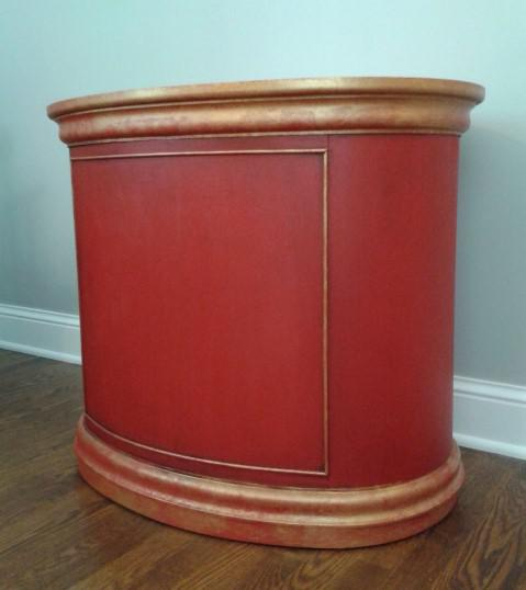 hekman furniture red u0026 gold oval chest image 3