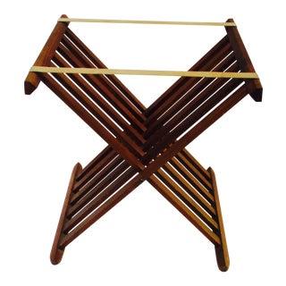 Mid-Century Modern Wood Folding Luggage Rack