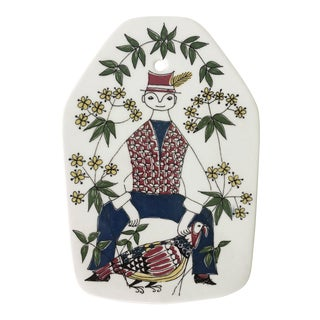 Scandinavian Ceramic Hand Painted Wall Plaque