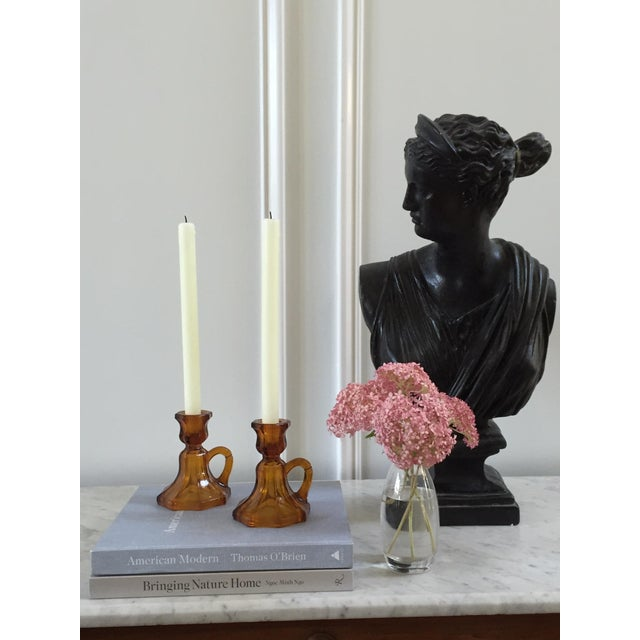 Image of Mid-Century Amber Glass Candle Holders - A Pair