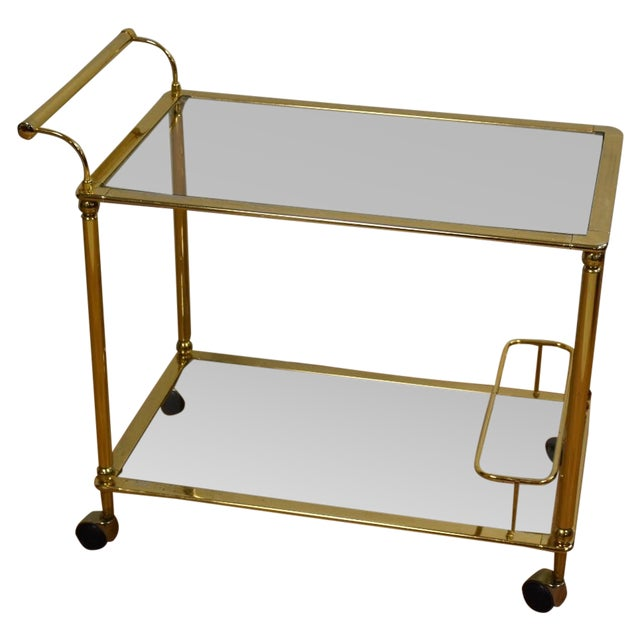 Hollywood Regency Brass Bar Cart - Image 1 of 11