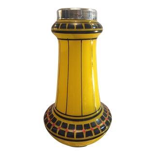 Art Deco Sterling Silver Rim Vase