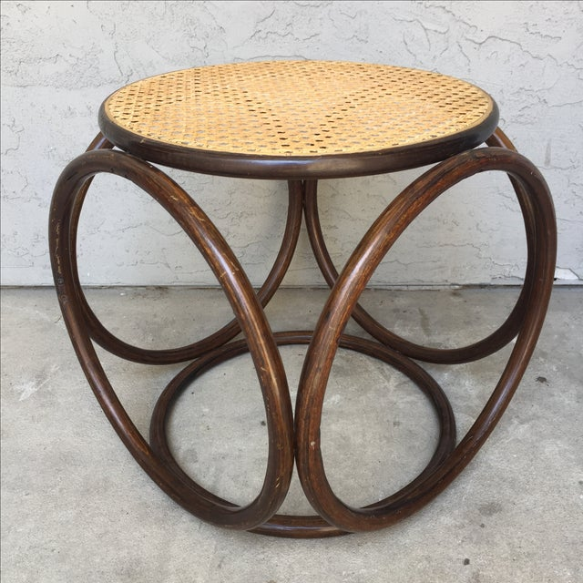 MCM Thonet Bentwood & Cane Ottoman or Side Table - Image 2 of 10
