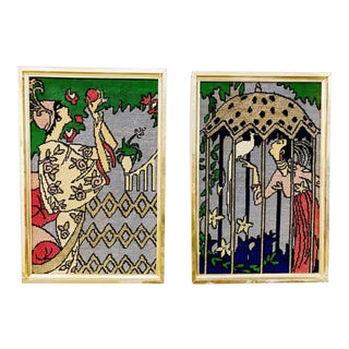Needlepoint Diptych Art Deco Flappers - A Pair