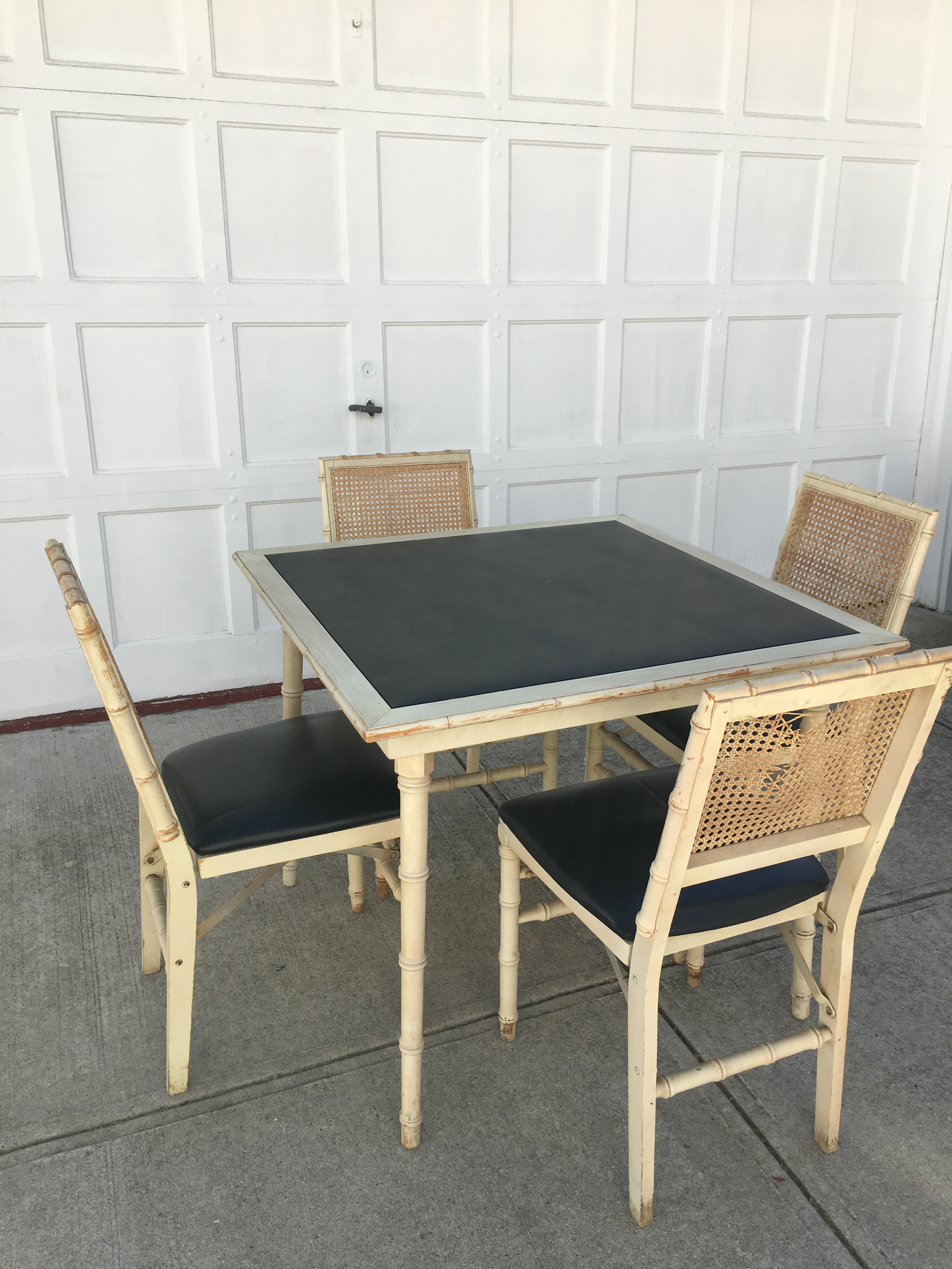 stakmore faux bamboo foldable vintage table chairs