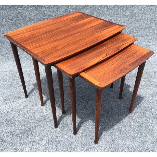 Danish Modern Rosewood Nesting Tables - Image 2 of 6
