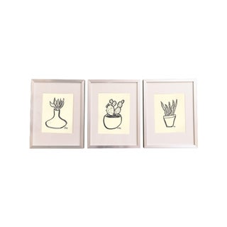 Succulent Ink Paintings - Set of 3