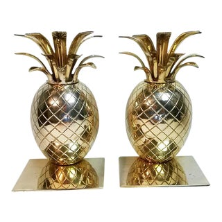Vintage Brass Pineapple Bookends- A Pair