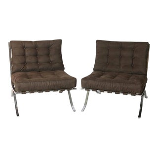 20th Century Brown Barcelona Chairs - A Pair